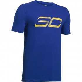 1298278-400_T-shirt Stephen Curry Under Armour SC30 Logo Bleu pour enfant