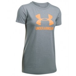 1298611-026_T-shirt Under Armour Sportstyle Crew Gris orange pour femme
