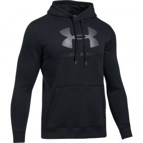 1302294-001_Sweat à capuche Under Armour Rival Fitted Graphic Hoody noir pour homme