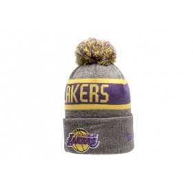 80524571_Bonnet NBA Los Angeles Lakers New Era Marl Knit avec pompon gris