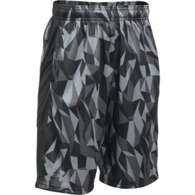1299998-007_Short Under armour Stunt Printed Noir Gris pour enfant