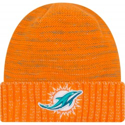 11461033_Bonnet NFL sans pompon Miami Dolphins On Field 2017 New Era Knit Rush Orange
