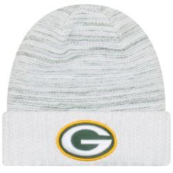 11461039_Bonnet NFL sans pompon Greenbay Packers On Field 2017 New Era Knit Rush blanc