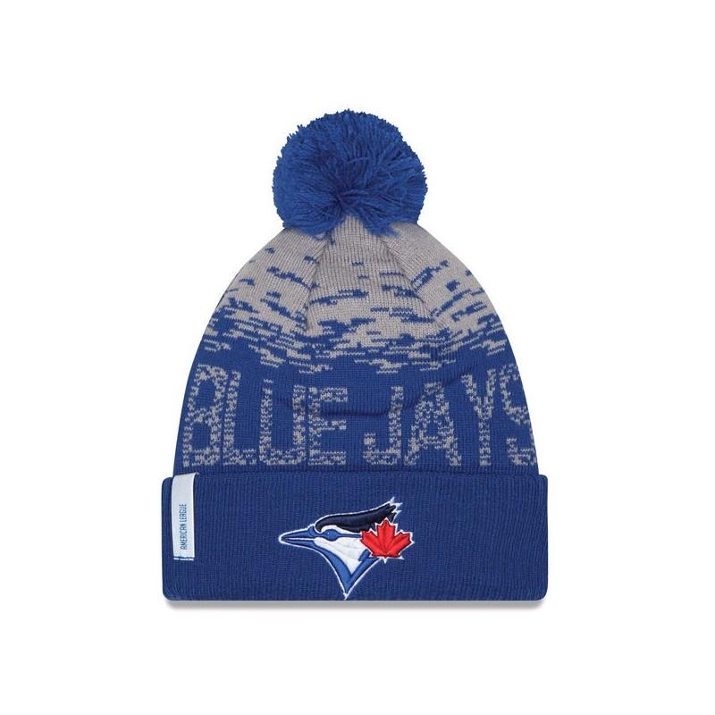 Bonnet MLB Toronto Bluejays à pompon New Era Sport Knit bleu