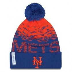 Bonnet MLB New York Mets à pompon New Era Sport Knit bleu