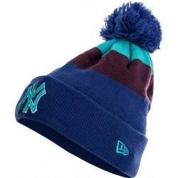 80196422_Bonnet MLB New York Yankees à pompon New Era Blockstripe Bleu