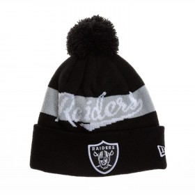 11104357_Bonnet NFL Oakland Raiders New Era Bobble Script 2 Noir avec pompon