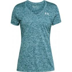 1258568-716_T-shirt Under Armour Twist Teck col en V vert pour femme