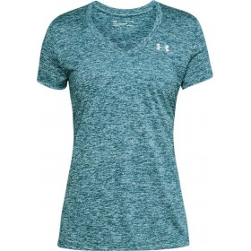 T-shirt Under Armour Twist Teck V-Neck verde para mujer