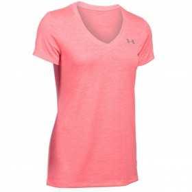 1258568-819_T-shirt Under Armour Twist Teck col en V Rose pour femme