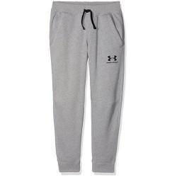 1320135-035_Pantalon de Jogging Under Armour Cotton Fleece gris pour enfant