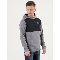 1320134-001_Sweat à capuche Under armour cotton Fleece Hoody Gris et noir Pour Enfant