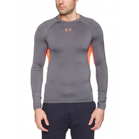 1257471-076_Maillot de compression à manches longues Under Armour Heatgear 2018 Gris pour homme