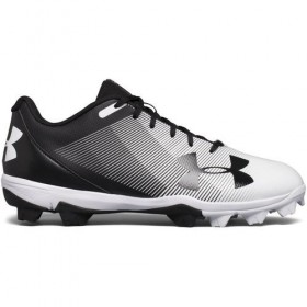 1297316-011_Crampons de baseball moulés pour junior Under armour Lead off RM low 2018 RM Noir et blanc
