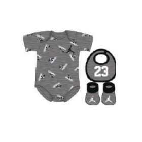 MJ0034-GEH_set Body chausson et bavoir Jordan Aj1 3pk Gris pour bébé