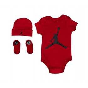 MJ0041-R78_set Body chausson et bavoir Jordan Aj Classic rouge pour bébé