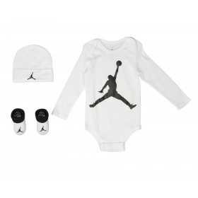 MJ0042-001_set Body manches longues chausson et bavoir Jordan Aj Classic Blanc pour bébé