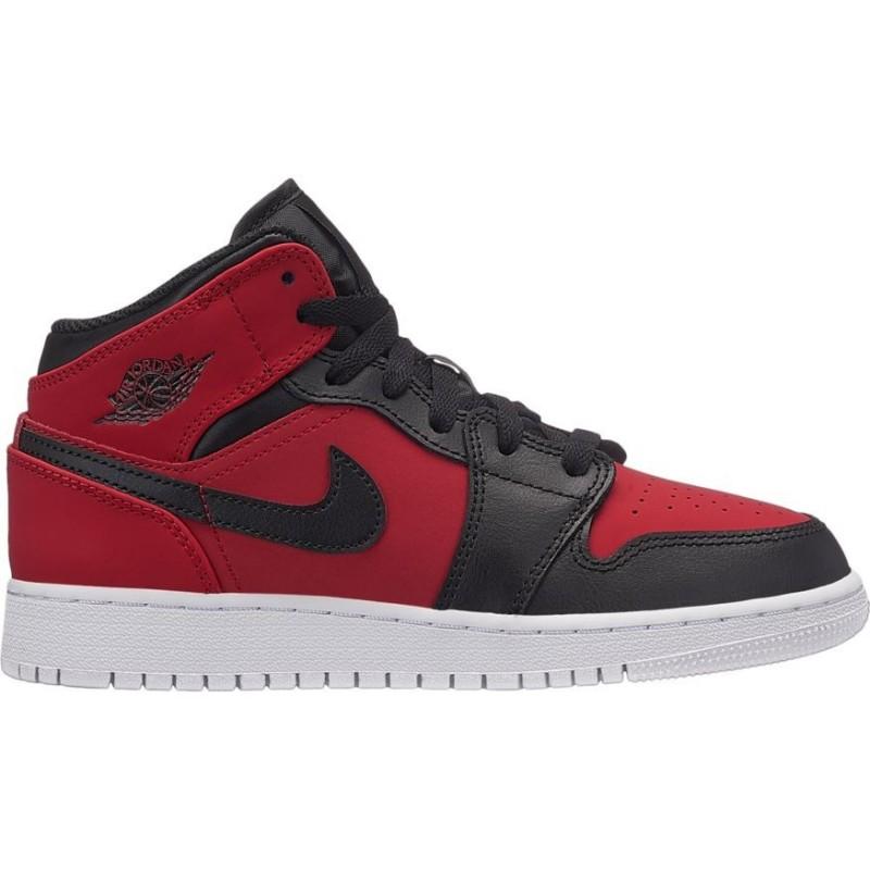 554725-610_Chaussure de Basket Air Jordan 1 Mid BG Rouge pour junior