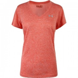 1258568-878_T-shirt Under Armour Twist Teck col en V Orange pour femme