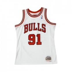 BA84SM-CBU-W-C8P_Maillot NBA Dennis Rodman Chicago Bulls 1995-96 Mitchell & ness Hardwood Classic Swingman Blanc