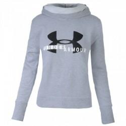 Pull à Capuche Under Armour Cotton Fleece Sportyle Logo Gris pour Femmes