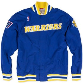 MN-NBA-AUTHWRMUPJKT-GSWAR_Warm up NBA Golden State 1996-97 Warriors Mitchell & Ness Authentic Jacket Bleu pour Homme