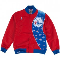 MN-NBA-6056-PHIL76-RED_Warm up NBA Philadelphia 76ers 1993-94 Mitchell & Ness Authentic Jacket Rouge pour Homme