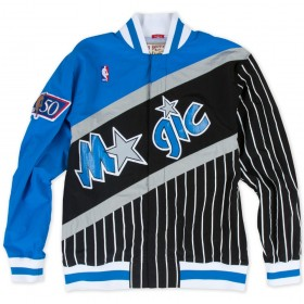 MN-NBA-6056-96OMA-ORLMAG-BLUBLK_Warm up NBA Orlando Magic 1996-97 Mitchell & Ness Authentic Jacket Noir pour Homme