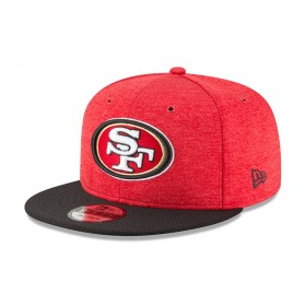 11762513_Casquette NFL San Francisco 49ers New Era 2018 Sideline Home 9Fifty Snapback Rouge