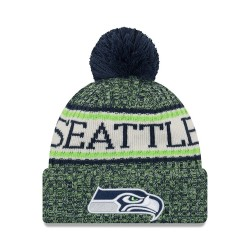 11768168_Bonnet NFL Seattle Seahawks New Era On Field 2018 à pompon Bleu