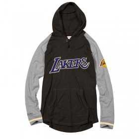 BA27OJ-LAL-K-K25_Sweat à Capuche NBA Los Angeles Lakers Mitchell & ness Slugfest Lightwieght Hoody Gris pour Homme
