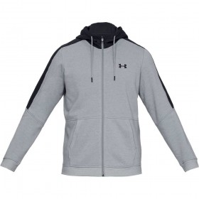 1345801-035_Sweat à capuche zippé Under Armour Microthread Fleece gris pour homme