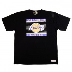 MN-HWC-CHARSTRIPTRAD-LALAKE-BLK_T-Shirt NBA Los Angeles Lakers Mitchell & ness Charity Strip Noir pour Homme