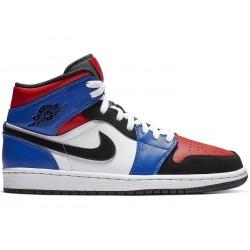 """554724-124_Chaussure Air Jordan 1 Mid """"Top Three"""" Bleu pour homme"""