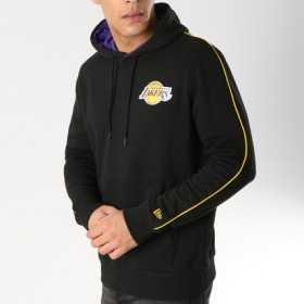 11904444_Sweat à Capuche NBA Los Angeles Lakers New Era Stripe Piping Hoody Noir pour Homme