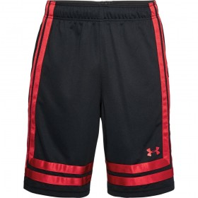 "1305729-002_Short de Basketball Under Armour Baseline Noir  red 10"" pour homme"