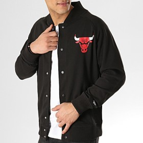 11860115_Veste à pression NBA Chicago Bulls New Era Core Jacket Varsity Noir pour Homme