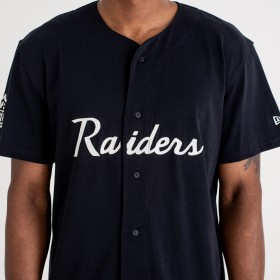 11859997_Maillot NFL Baseball Oakland Raiders New Era Script Button Up Noir pour homme