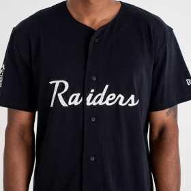 11859997_Maillot NFL Baseball Oakland Raiders New Era Script Button Up Noir pour homme
