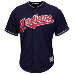 Maillot MLB Cleveland Indians Replica Cool Base Navy Pour Homme