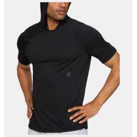 1328700-001_Sweat à capuche manches courtes Under armour Rush Hoodie noir Pour Homme