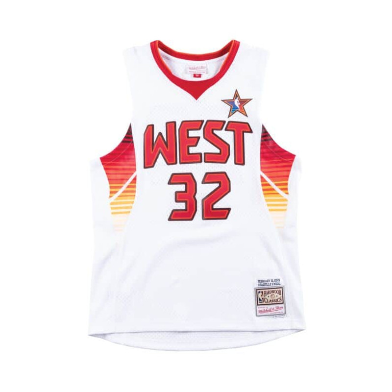 SMJYEL18015-ASWWHIT09SON_Maillot NBA Shaquille O'Neal All Star West 2009 Mitchell & ness Hardwood Classic swingman blanc