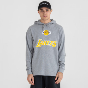 Sweat à Capuche NBA Los Angeles Lakers New Era Contrast Panel Hoody gris pour Homme