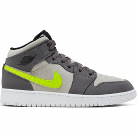 554725-072_Chaussure de Basket Air Jordan 1 Mid (GS) Junior Gris gold