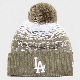 12061638_Bonnet MLB Los Angeles Dodgers à pompon New Era Sport Knit marron pour Enfant