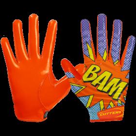 """S252-PWBM-34_Gant de football américain Cutters S252 Edition Limitée """"Bam"""" Orange pour receveur"""
