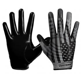 """S252-FLGBG-34_Gant de football américain Cutters S252 Edition Limitée """"USA"""" Noir pour receveur"""