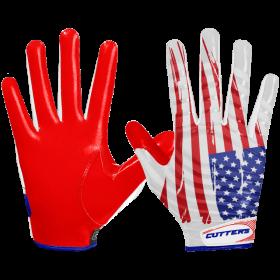 """S252-FLGWR-32_Gant de football américain Cutters S252 Edition Limitée """"USA"""" Rouge pour receveur"""