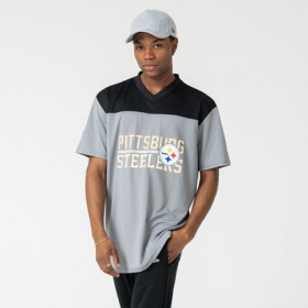 12123834_T-Shirt NFL Pittsburgh Steelers New Era Stacked Wordmark Oversized Gris Pour Homme