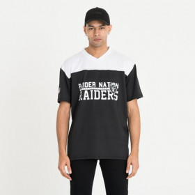 12123836_T-Shirt NFL Oakland Raiders New Era Stacked Wordmark Oversized Noir Pour Homme